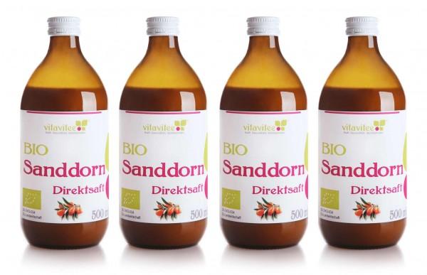 Bio Sanddorn Direktsaft 4 x 0,5 Liter - Natur pur