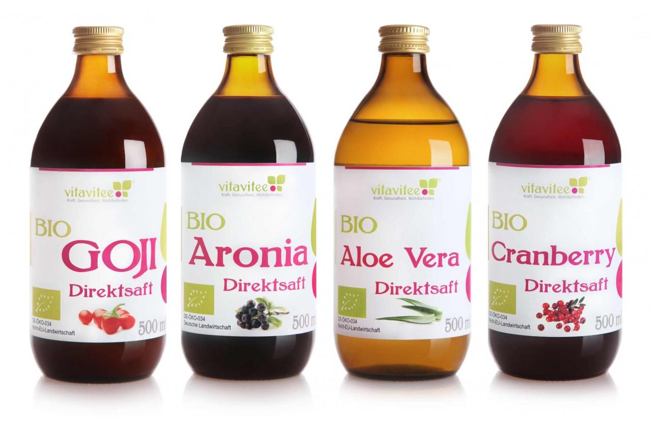 4er Bio Saftpaket: Goji - Aronia - Aloe Vera - Cranberry Direktsaft - je 1x 0,5 Liter